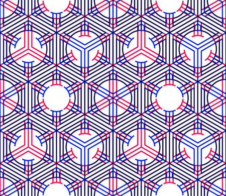 illusory: Bright illusory abstract geometric seamless pattern with 3d geometric figures. Vector transparent superimpose backdrop.