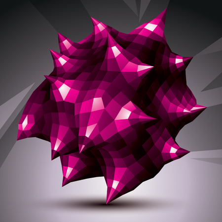asymmetric: Abstract asymmetric vector purple object constructed from different elements, complicated geometric shape. Illustration