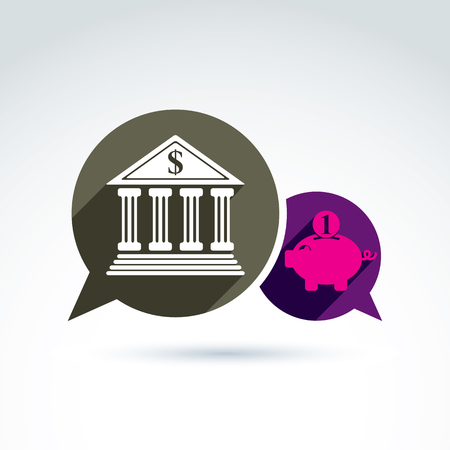 stylized banking: Bank versus Piggybank credit and deposit money theme symbol, vector conceptual special icon for your design.
