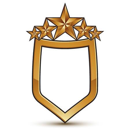 estrellas cinco puntas: Renown vector emblema con cinco estrellas de oro, elemento 3d escudo dise�o festivo, EPS claros 8.