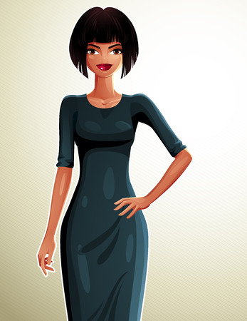 dark skin: Sexy coquette dark skin woman with her hand on a waist, full-length portrait. Attractive smiling lady wearing a stylish dress. Illustration