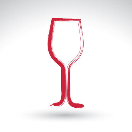 dinner date: Hand drawn simple empty wineglass, brush drawing tulip goblet icon, hand-painted glass of wine isolated on white background.