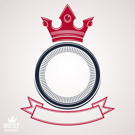 Vector circle with 3d decorative royal crown and festive ribbon, luxury coat of arms. Heraldic coronet symbol, best for graphic and web design.