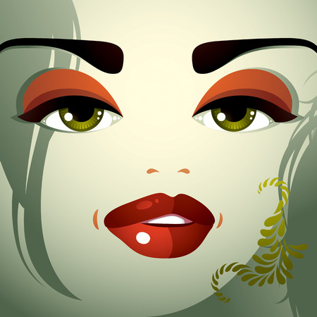 eyebrows: Parts of the face of a young beautiful lady with a bright make-up, lips, eyes and eyebrows. People facial expression, woman with modern hairstyle. Illustration
