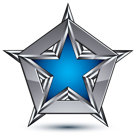 pentagonal: Silvery blazon with pentagonal blue star, can be used in web and graphic design, clear EPS 8 vector. Heraldic silver symbol, 3d coat of arms.