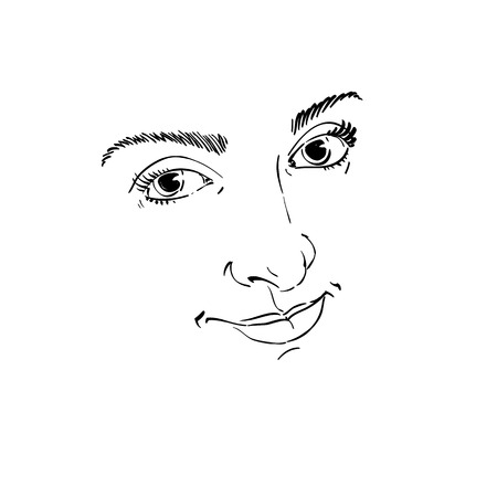 satisfied expression: Facial expression, hand-drawn illustration of face of delicate good-looking girl with positive emotional expressions. Beautiful features of lady visage.