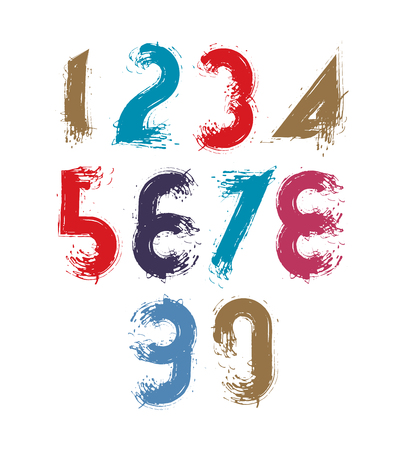 estimating: Multicolored handwritten numbers, vector doodle brushed figures, hand-painted set of numbers with brushstrokes. Illustration