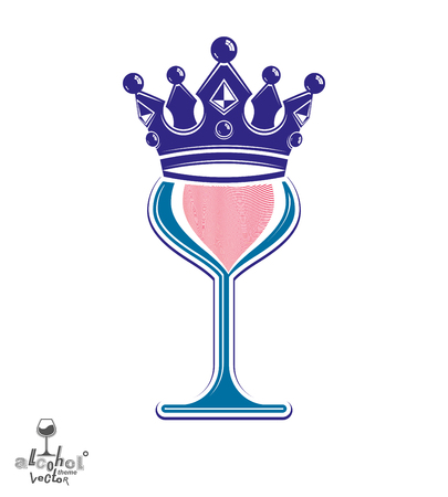 sophisticated: Sophisticated luxury wineglass with king crown, graphic artistic vector goblet. Full glass of wine vector illustration. Party creative object. Illustration