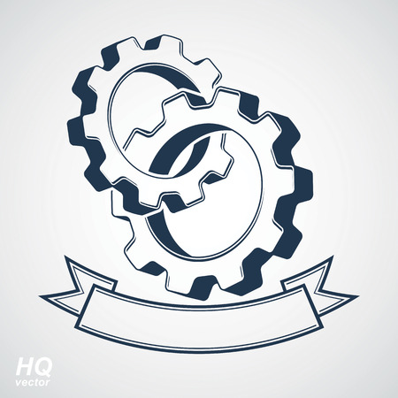 gears: Vector 3d conceptual industry system design element, cog wheels merged, gears with a decorative curvy ribbon. High quality business icon. Best engineering project award conceptual symbol.