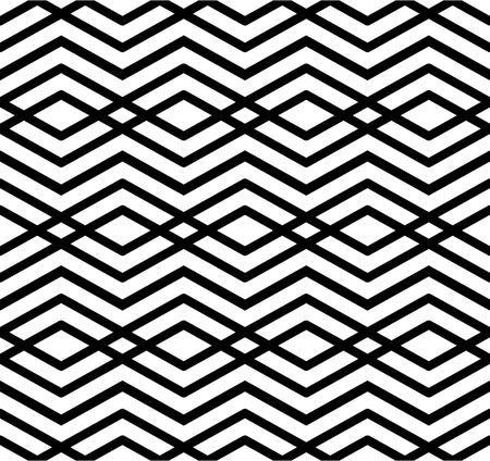 parallelogram: Modern zigzag contrast geometric seamless pattern. Rhombus graphic contemporary splicing. Imposing black and white infinite backdrop with symmetric ornament. Illustration