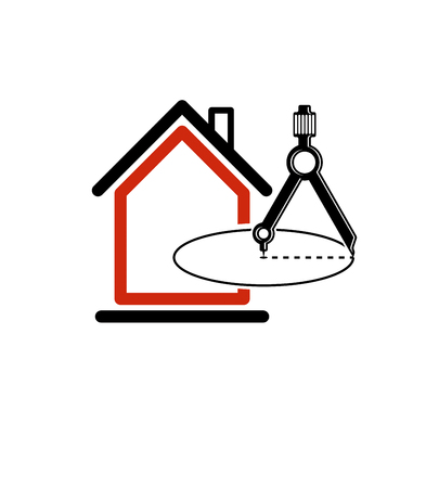 architectural design: Architectural design conceptual vector symbol, simple house icon with compass. Design construction graphic element, building project or draft, engineer equipment.