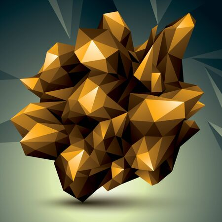 asymmetric: Asymmetric 3D abstract object, golden geometric spatial form. Render and modeling.
