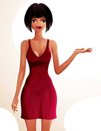 women body: Young pretty lady holding her hand on a waist and showing something to side. Vector illustration of a woman standing, full body portrait.