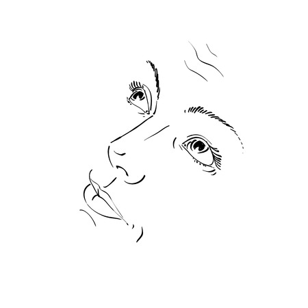 naive: Hand-drawn illustration of woman face, black and white mask with emotions. Features of beautiful girl feel sorry about something, posing for portrait. Blameworthy naive girl.