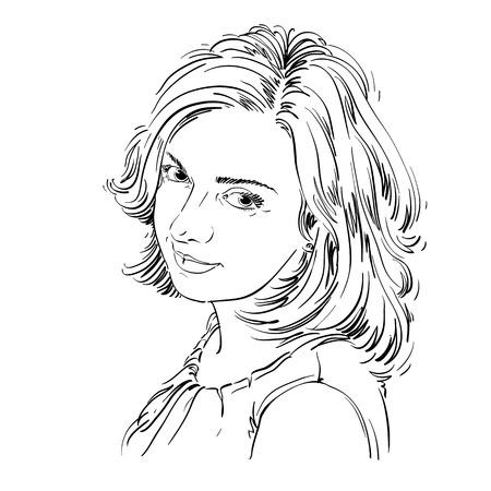 Vector Portrait der attraktiven Frau, Abbildung von gut aussehenden romantischen weiblichen. Person emotionale Gesichtsausdruck. Standard-Bild - 49146371