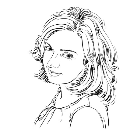 Vector portrait of attractive woman, illustration of good-looking romantic female. Person emotional face expression. Ilustração