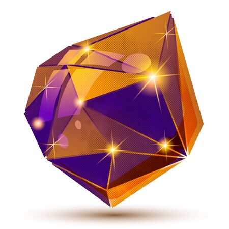 multifaceted: Plastic grain dimensional object created from geometric figures, shiny futuristic isolated element.