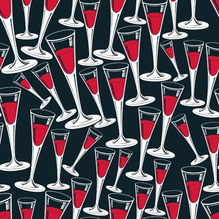 bicchieri di champagne classico vettore modello senza soluzione di continuità, alcool bevanda tema sfondo. Stili di vita elementi di design grafico. Relax e idea per il tempo libero.