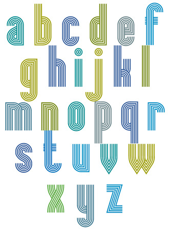 verbs: Retro style stripe trendy font, geometric elegant letters vector alphabet. Lowercase letters set. Vector.