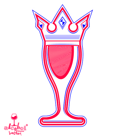 ca: Monarch wineglass with decorative crown, royal theme vector symbol isolated on white background. Elegant goblet of wine, ca be used in advertising and graphic design.
