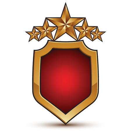 estrellas cinco puntas: Sophisticated emblem with five golden stars, 3d festive design shield element with red filling