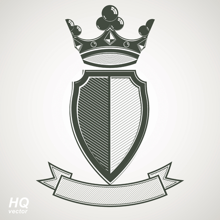 shield: Heraldic royal blazon illustration - imperial striped decorative coat of arms. Vector shield with king crown and stylized ribbon. Majestic element, best for use in graphic and web design.