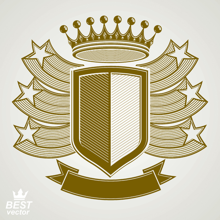 security symbol: Empire stylized vector graphic symbol. Shield with 3d flying stars and imperial crown. Clear eps8 coat of arms – security idea. Elegant coronet, web design icon. Illustration