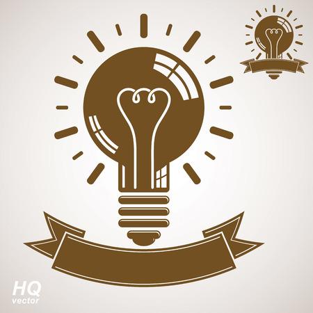 problem solution: Electricity light bulb symbol, insight emblem. Vector brain storm conceptual icon - corporate problem solution theme. Best idea award icon with curvy ribbon. Business idea graphic web design element. Illustration