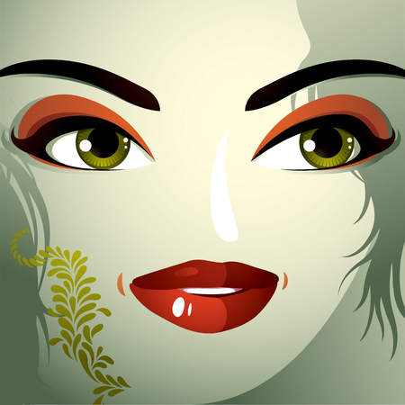 eyebrows: Cosmetology theme image. Young pretty lady with fashionable haircut. Human eyes, lips and eyebrows reflecting a facial expression, happiness.