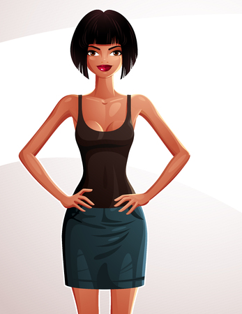 full body woman: Beautiful coquette lady illustration, full body portrait of a sexy slender brunette holding her hands on a waist. Young pretty woman.