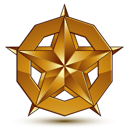 Wonderful vector template with golden star symbol, best for use in web and graphic design. Heraldic icon, clear eps8 vector.