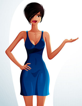 Young pretty lady holding her hand on a waist and showing something to side. Vector illustration of a woman standing, full body portrait.