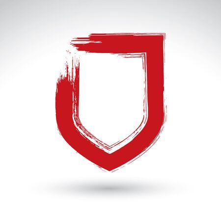 shield: Dibujado a mano sencillo icono de escudo, pincel de dibujo seguridad signo vector, rojo s�mbolo de protecci�n pintado a mano aislado sobre fondo blanco, la interfaz de usuario pictograma.