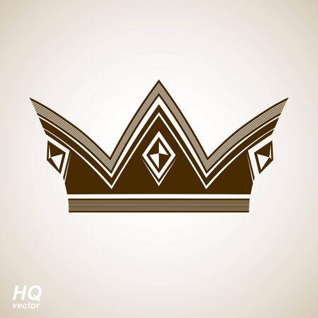 regalia: Vector vintage crown, luxury ornate coronet illustration. Royal luxury design element, decorative regal icon. Classic imperial eps8 regalia symbol.