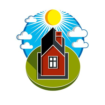 country house: Bright vector illustration of simple country house on sunrise background. Summertime conceptual fairy image, graphic design.