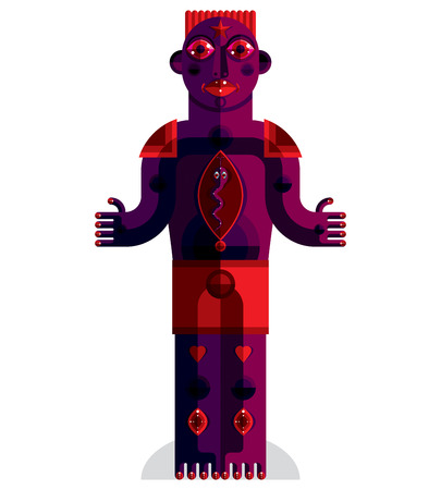 cubism: Flat design drawing of odd character, art picture made in cubism style. Vector colorful illustration of spiritual totem isolated on white. Illustration