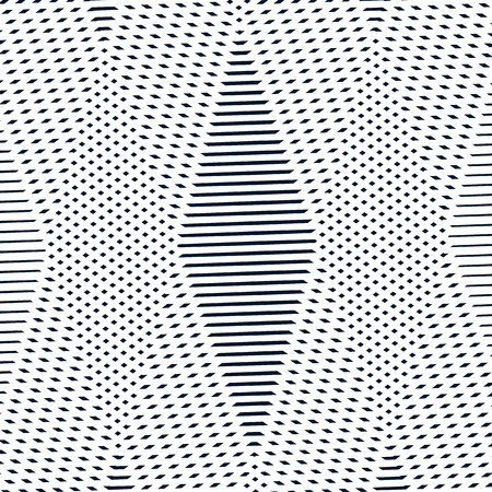 moire: Optical illusion, moire vector background, abstract lined monochrome tiling. Unusual geometric pattern with visual effects. Illustration