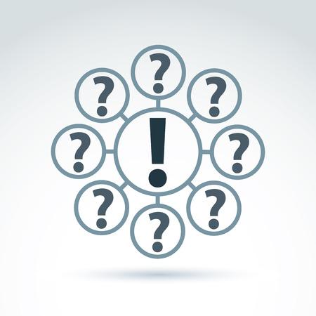 signo de admiracion: FAQ, analizar el concepto, hacer y responder tema, el interrogatorio. Vector discusi�n s�mbolo con signos de exclamaci�n y de interrogaci�n.