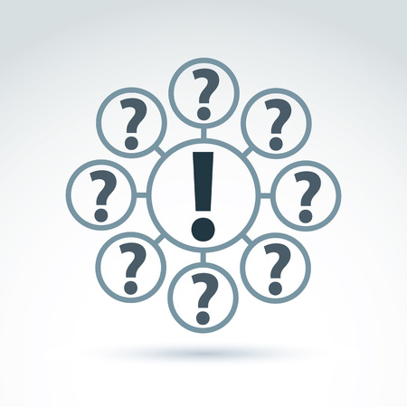 interrogation point: FAQ, analyze concept, ask and answer theme, interrogation. Vector discussion symbol with exclamation and question marks.