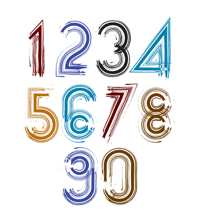 numeration: Calligraphic brush numbers with stripes, hand-painted bright vector numeration. Illustration