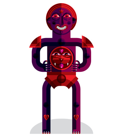cubismo: Cubismo tema vector ilustración gráfica, símbolo modernista. Personaje de dibujos animados geométrica, criatura mítica o chamán.