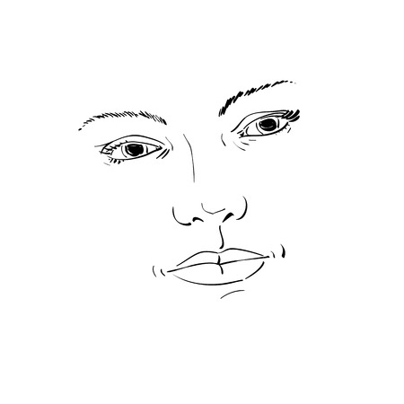 feature: Facial expression, hand-drawn illustration of face of a girl with positive emotional expressions. Beautiful features of lady visage.