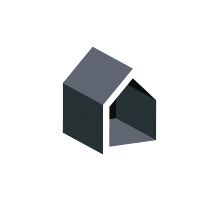 depiction: Property developer conceptual business icon, real estate emblem.  Building modeling and engineering projects vector abstract symbol. Simple house depiction. Illustration