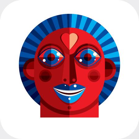 cubismo: Piso dibujo del diseño de una imagen cara de la persona, el arte hecho en estilo del cubismo. Ilustración colorida de carácter extraño.