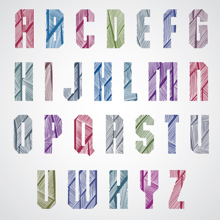 upper: Pattern ornamental colorful fashionable font, rectangular upper case letters.
