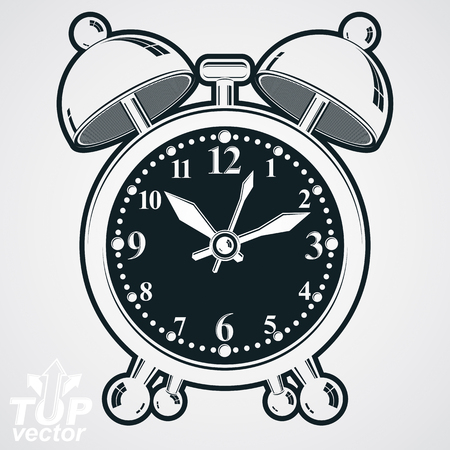 clang: Alarm clock vector 3d black and white illustration, wake up conceptual icon. Graphic dimensional clock with clang bells. Retro timer.