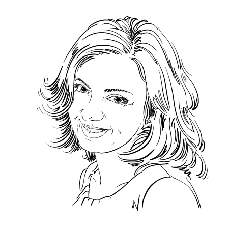 model posing: Vector drawing of smiling sincere woman with stylish haircut. Black and white portrait of attractive happy satisfied lady. Model posing.