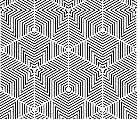 entwine: Black and white illusive abstract geometric seamless 3d pattern. Vector stylized infinite backdrop, best for graphic and web design.