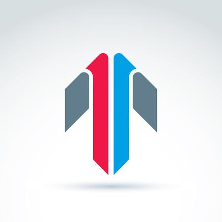 flèche double: Résumé emblème avec flèche colorée% u2013 up, panneau de direction, pointeur. Double symbole avant. Illustration