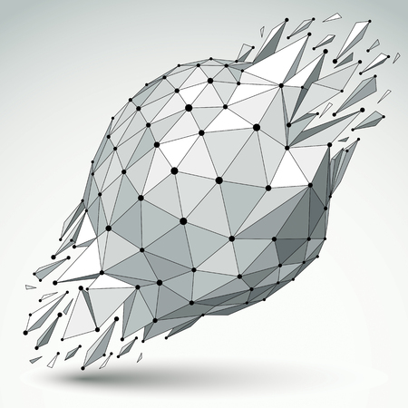 fragmentation: 3d vector low poly object with black connected lines and dots, geometric wireframe shape with refractions. Asymmetric perspective shattered form.